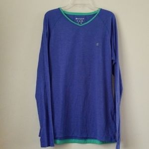 🎄 long sleeve champion blue and teal top XL